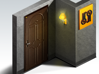 Door isometric door yellow gray