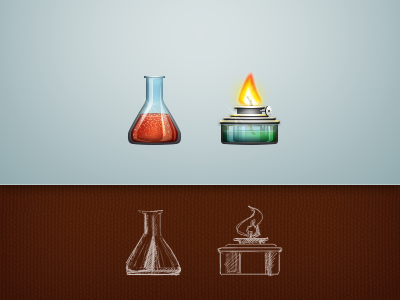 Laboratory laboratory flask matrass alcoholic lamp spirit lamp fire red green blue sketch icons