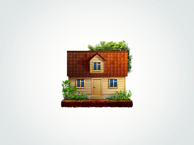 House icon house home tree tile icon window door ground bush