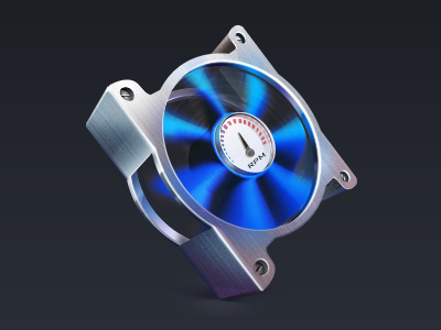 Fan control icon fan cooler pc mac icon app application rpm counter tach screw light reflex shadow