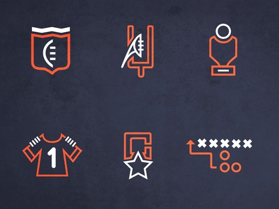 Football Icons line icon vector outline touchdown football icons