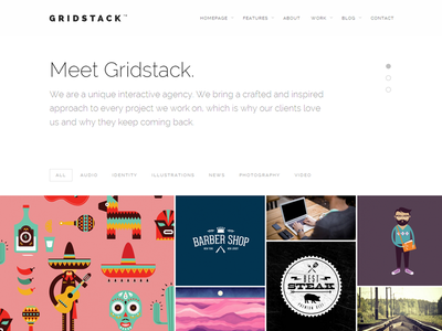 Gridstack WordPress Theme minimal web design website theme responsive portfolio bold flat webdesign