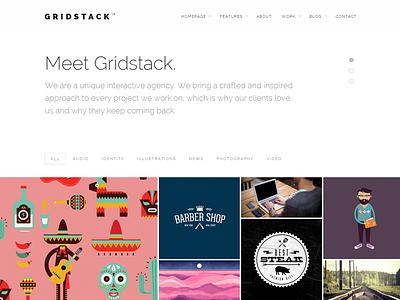 Gridstack WordPress Theme minimal web design website theme responsive portfolio bold flat webdesign