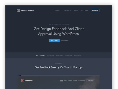 New ProjectHuddle Homepage ux ui typography storefront wordpress dark web design webdesign