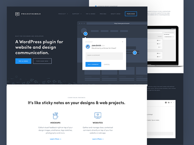 ProjectHuddle Homepage whitespace typography modern layout clean minimalistic minimal homepage wordpress ui