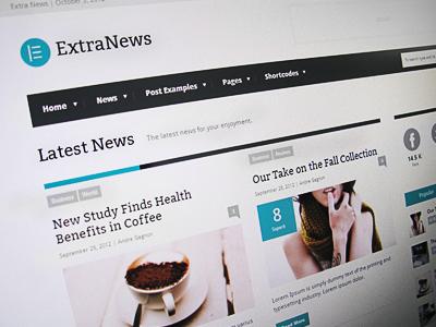 ExtraNews Wordpress Theme Blog Page website website design web design blog wordpress minimal clean ui news