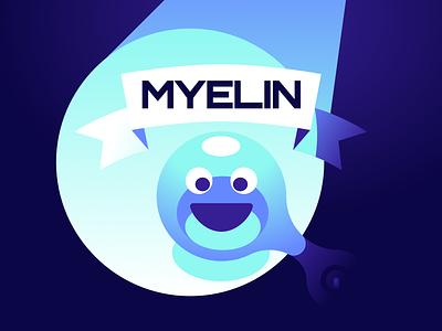 Myelin character concept art blue minimal art abstract illustration digital art concept game myelin