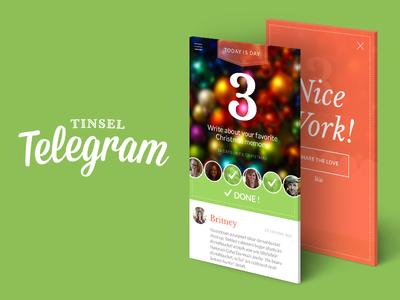 Tinsel Telegram Advent Calendar App christmas holiday app ui advent calendar second friday concept