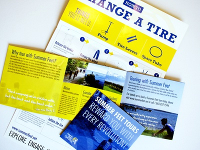How to change a flat tire poster brochure bikes instructional info design brochure poster