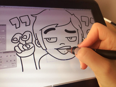 Once in the warm cozy office evening... sticker illustration wacom character vector wip