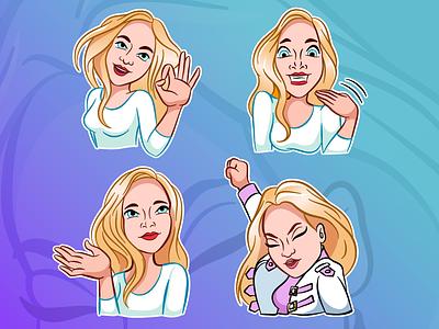 Girls Girls Girls emoticon emotion stickers sticker ipadproart ipadpro affinity designer affinitydesigner vector character girl illustration