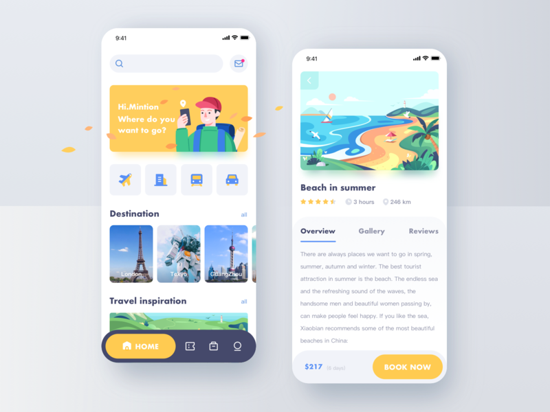 Travel APP ui app ticket hiking travel detail page score scenery train air ticket car rental