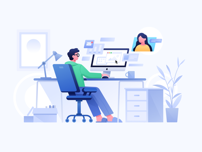 Work from home conference remote illustration stool plant app communication computer office home