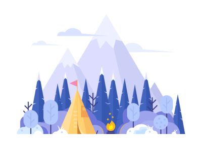Nature-Winter ui nature winter tree tent ps illustration camping