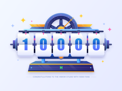 Clock - 10000 followers! illustrations thank bule ui follower fans 10000 clock