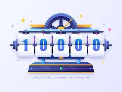 Clock - 10000 followers! illustrations thank bule ui follower fans 10000 clock