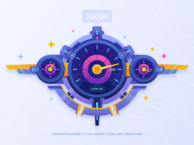 20000 followers! dashboard,clock,20k,car 20000 fans follower ui bule thank illustrations