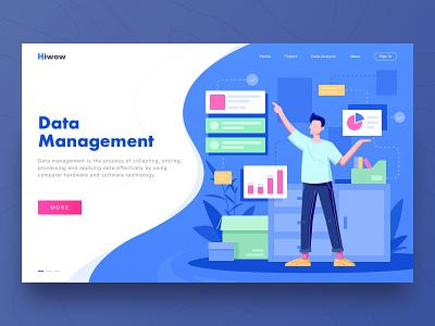 Web-Data Management ux bule work 设计 插图 management data web hiwow ui