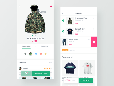 Online shopping app clothes cart app shopping online hiwow ui
