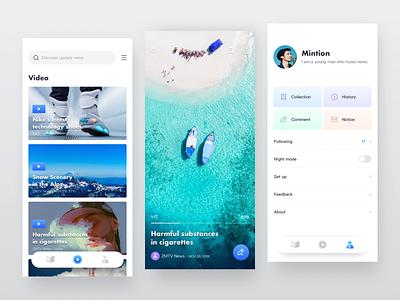 News App 2 sea idle video app concept news ui