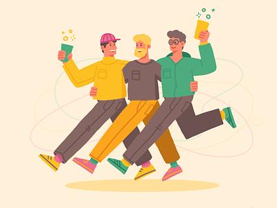 Happy Friends action avatar happy social students men illustration running wine