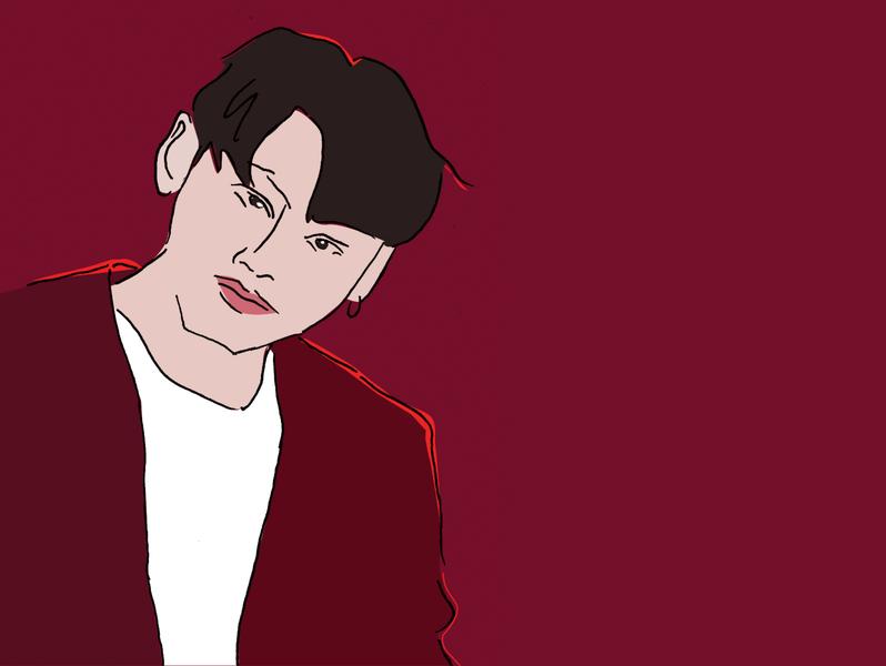 Jung Kook BTS K-pop k-pop fashion bangtan boys portraits coloring drawing