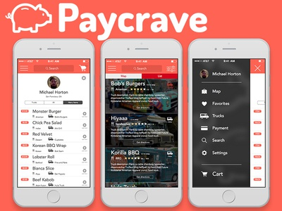 paycrave foodtruck finder app design by michael horton