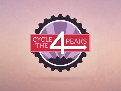 Cycle The 4 Peaks logo sport red purple 4 cycle charity