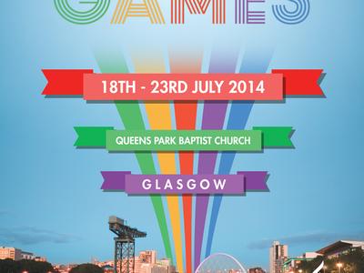 CLAN Games city scape print retro colours games glasgow