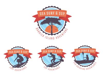 Sea Surf & Sup surf logo sup logo kayak logo orange blue tree sun set