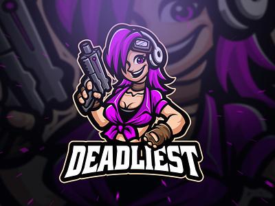 Deadliest Character Mascot Logo gaming gamer game beauty woman girly logodesign branding sports branding mascot war gun sniper manga elegant cartoon character esports esport logo