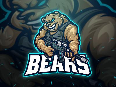 dribbble bear mascot branding game gamer illustration sport gaming esport character