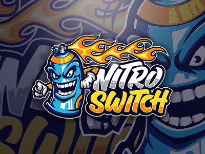 Nitro Switch Logo cartoon esport gaming youtube banner typo logo graffiti art graffiti typography flame nitro street art character