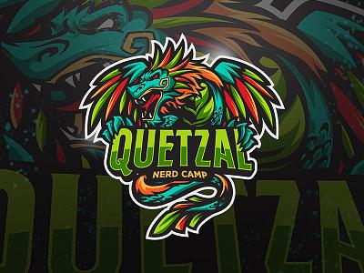 Quetzal esport angry vector illustration sport logo character full color dragon snake quetzal quetzalcoatl