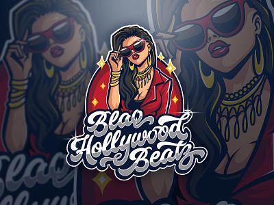 Black Hollywood Beatz Logo brand typogaphy bold melody disco funk groovy music app sexy girl blink