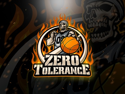 Zero Tolerance Logo team jersey skull flame fire basketball mascot character esports mascot esports logo sport