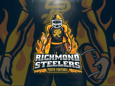 Richmond Steelers Football Logo character illustration team sport branding fire flame sport design esport football logo sport