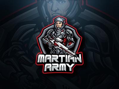 Martian Army Esport Logo armor sport esport gaming warrior war army shield costume gun sci-fi robot