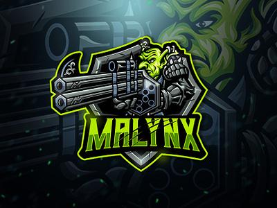 Malynx Esport Logo team gamer game gaming esport sport logo monster shield green costume war gun mascot character goblin