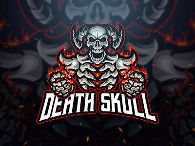 Dead Skull logo template red angry grim reaper grim killer hell flame fire dota pubg twitch esport sport logo gaming gamer game skeleton skull