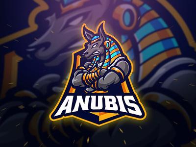 Anubis Spoer and Esport Logo spinx squad team logo branding logo template gaming gamer game app esport sport logo shield gold black wolf dog egyptian egypt cleopatra anubis