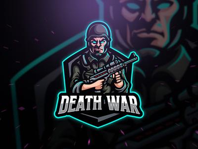 Death War character dota fortnite pubg gaming gamer game emblem badge esport sport logo death killer revolver gun jacket helmet shoulder war army