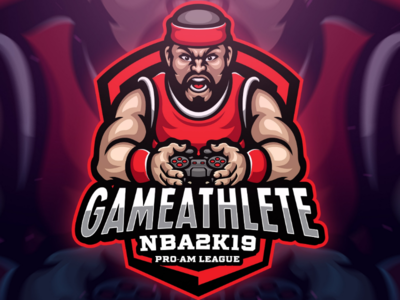 Gameathlete Sport Logo vector design playstation gamer gaming game identity branding red project commissions mascot character esport sport logo