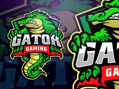 Gator Gaming Esport Logo crocodile aligator catoon mascot character twitch gamer gaming esport sportlogo