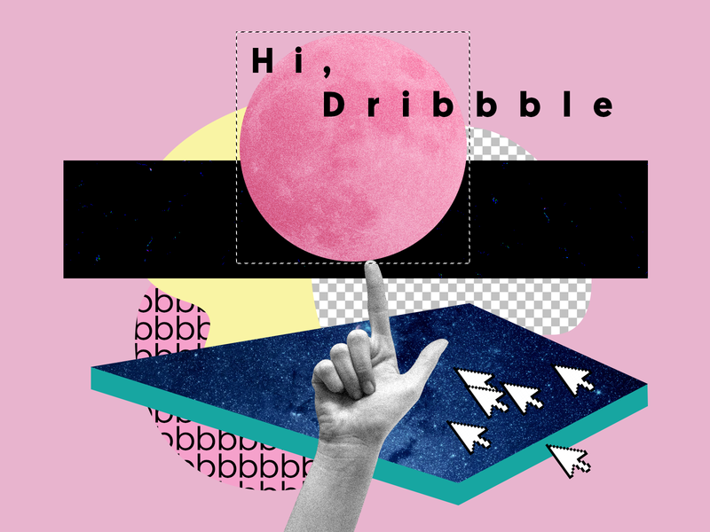 Hi, Dribbble! hi dribbble first shot new shot debut photoshop texture hand illustraiton pink collage dribbble