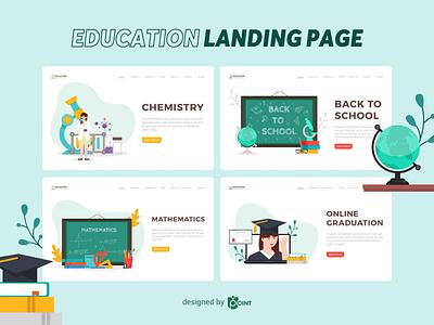 Education - Landing Page website vector illustration vector ui design landing page illustration landing page design landing page illustration graphic design education