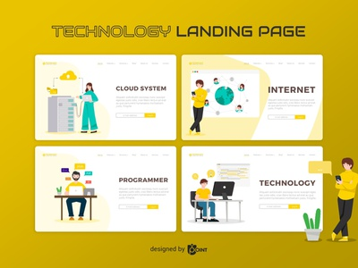 Technology - Landing Page website vector illustration vector ui design landing page illustration landing page design landing page illustration graphic design technology