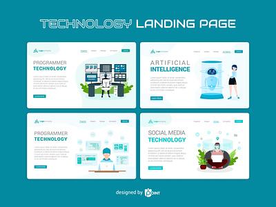 Technology - Landing Page website vector illustration vector ui design landing page illustration landing page design landing page illustration graphic design technology