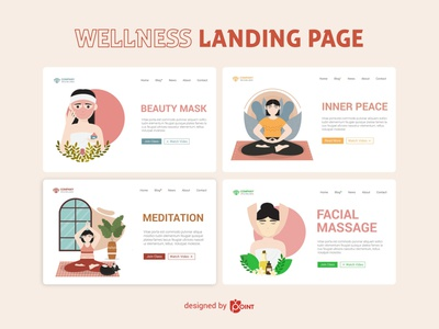 Wellness - Landing Page website vector illustration vector ui design landing page illustration landing page design landing page illustration graphic design wellness