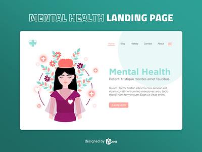 Mental Health - Landing Page website vector illustration vector ui design landing page illustration landing page design landing page illustration graphic design mental health